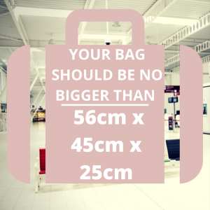 Airport Security - your bag should be no bigger than 56cm x 45cm x 25cm