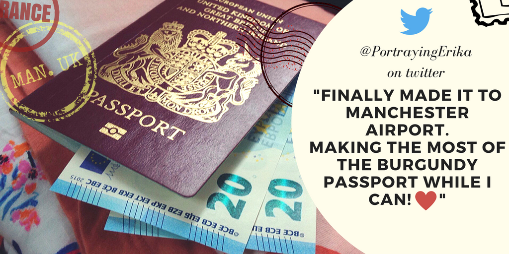 Twitter feedback: 'finally made it to Manchester airport. Making the most of my passport'