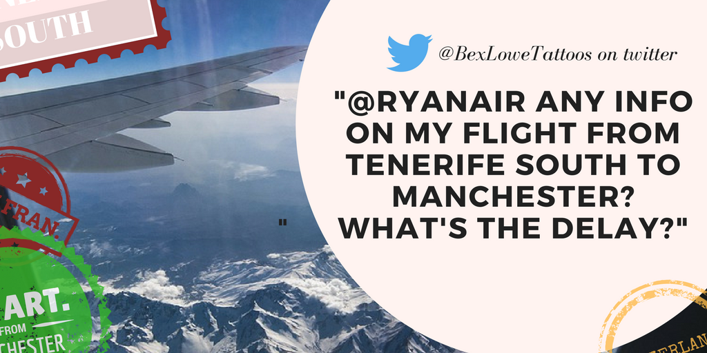 Twitter response about Manchester flight delays: 'Ryanair, any info on my flight from manchester?'