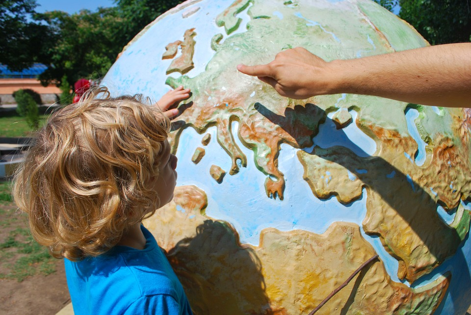 Teaching a child about global travel