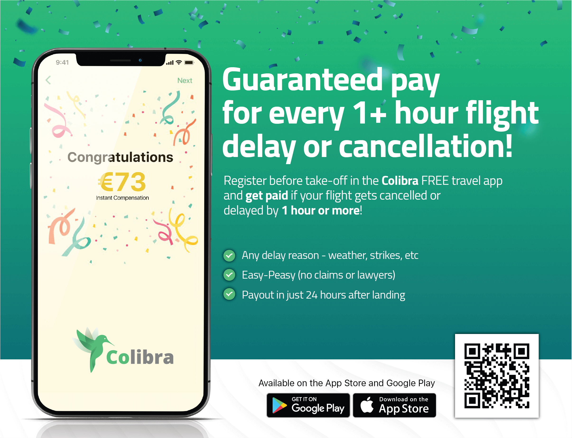 Discover how Colibra can pay compensation to you if your flight is delayed by more than an hour